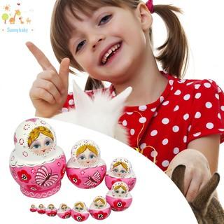 Sun☀10PCS Pink Wooden Russian Nesting Dolls Gift Matreshka Handmade Crafts