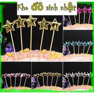 [♥TặngQuà♥] Set 5 que cắm tim sao da - Trang trí bánh kem, trang trí bánh Gato, trang trí bánh sinh nhật