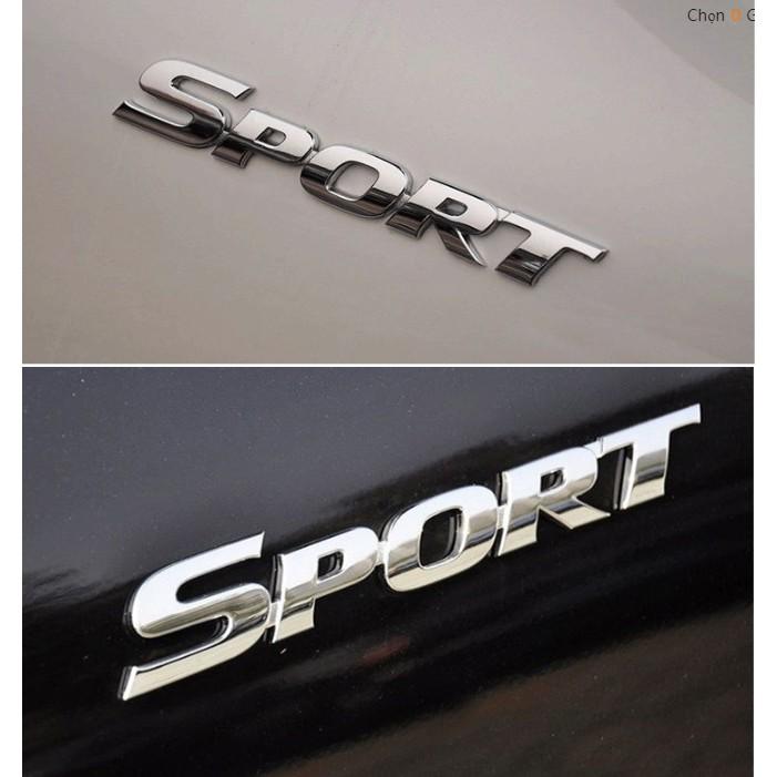 Tem chữ sport mạ crom dán xe ô tô
