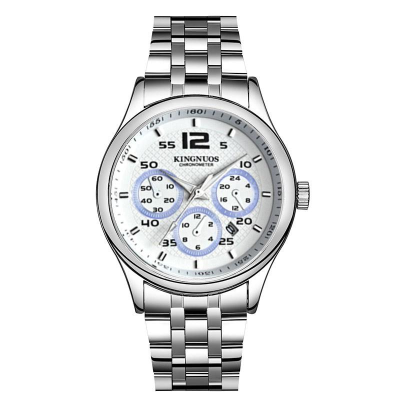 Đồng hồ nam KINGNUOS K05151 dây thép kim loại cao cấp + Tặng vòng tay tỳ hưu cao cấp