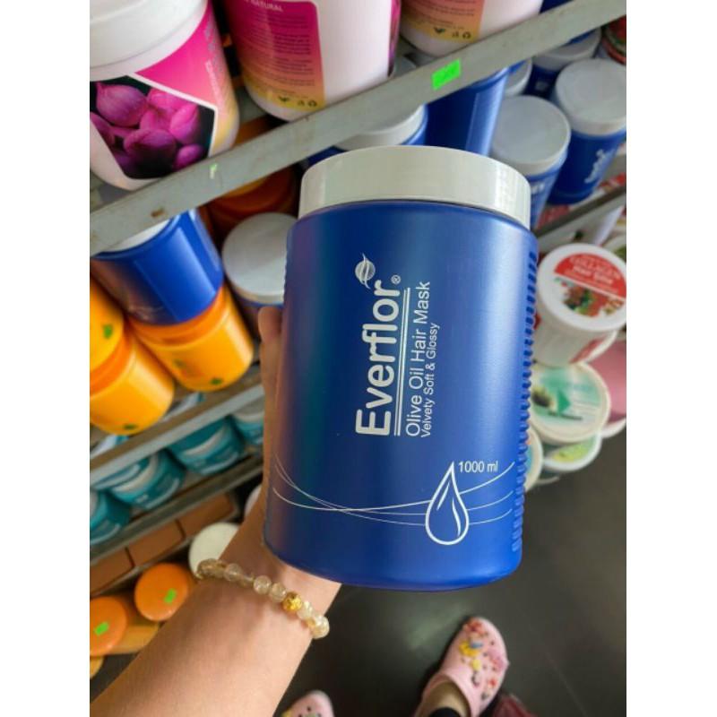 hấp dầu tóc everflor xanh 1000ml