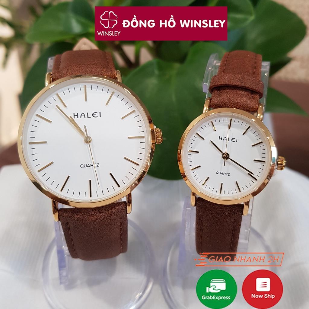Đồng hồ cặp đôi nam nữ Halei dây da chống nước chính hãng viền mạ vàng Tony Watch 68