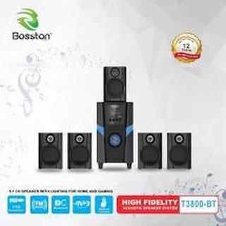 Loa vi tính 5.1 kiêm Bluetooth USB thẻ nhớ Bosston T3800-BT 45W led RGB 7 màu, nguồn 220V (Đen) - Hãng phân phối!