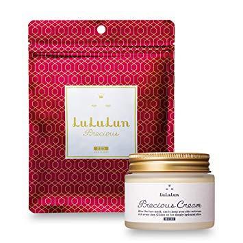 Set 7 miếng mặt nạ Lululun Precious đỏ + kem dưỡng ẩm Lululun Precious Cream 80g