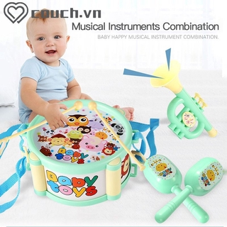▶COD Children Drum Trumpet Toy Music Percussion Instrument Band Kit Early Learning Education Toy Baby Kids Children Gift Set 【couch】