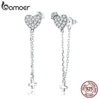 Khuyên tai nữ BAMOER bạc 925 màu bạc trơn hình trái tim dáng dài thời trang