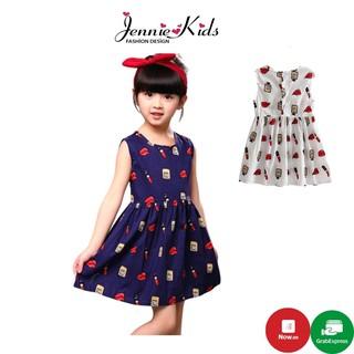 J245 Váy bé gái họa tiết son môi dễ thương