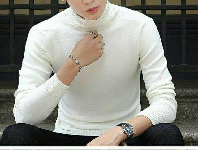 Áo len nam cổ lọ màu trắng | SaleOff247