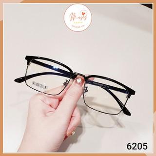 Gọng kính cận Nam Nữ 6205 thiết kế mắt vuông viền kim loại càng nhựa nhiều màu
