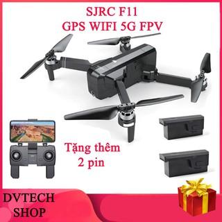 combo 3 pin Máy bay SJRC F11 GPS, Camera 1080P, xoay góc 90 °, Follow Me, chụp ảnh bằng cử chỉ, gấp nhỏ gọn