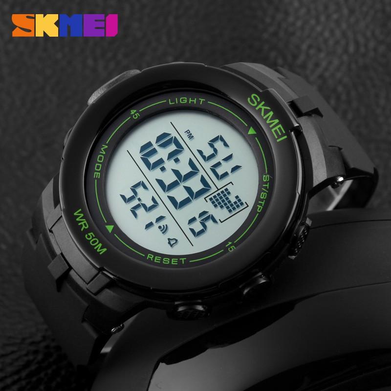 Đồng hồ nam SKMEI 1127 dây cao su (Đen viền xanh lá)