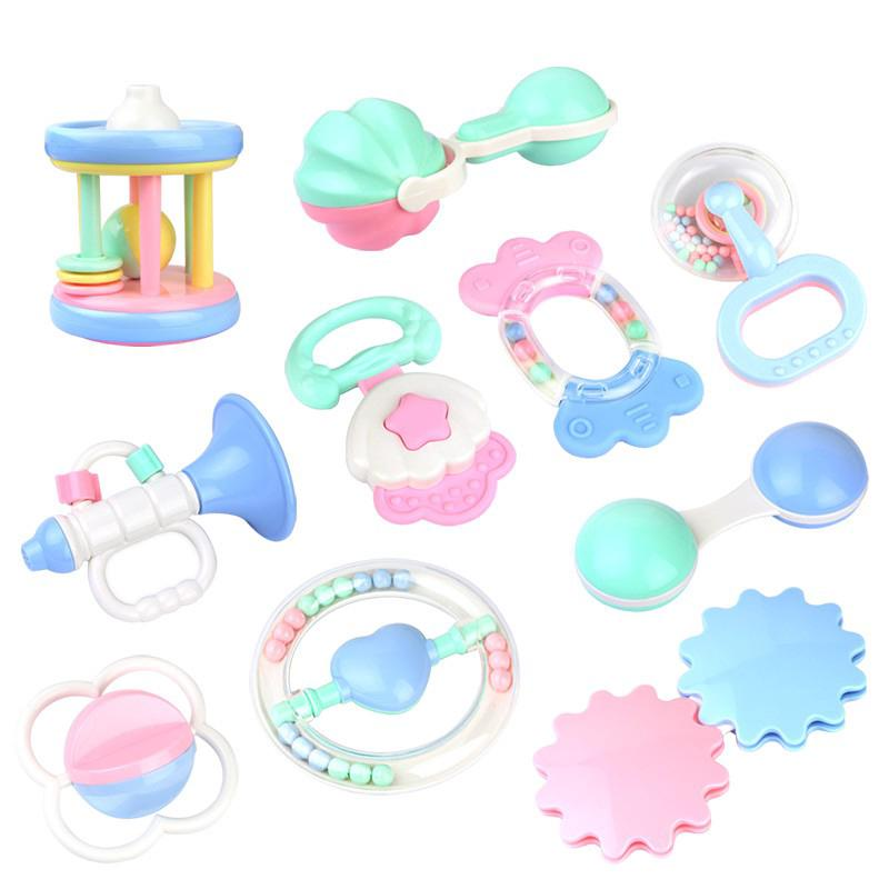 5pcs/Set Gear / Ball / Shell / Milk bottle / Horn Baby Soft Rattle Early Learning Development Toy