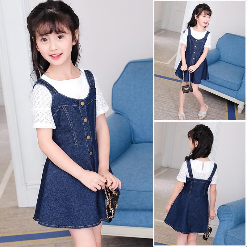 (Size 14kg -40kg) - Váy jean bé gái - Váy yếm jean cho bé gái