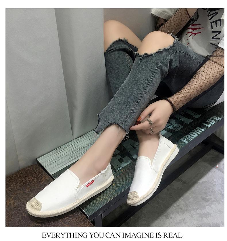 Slip on cói nữ - Giày lười vải nữ - Chất liệu vải bố 2 màu đen thô và trắng phủ acrylic - Mã SP CC16