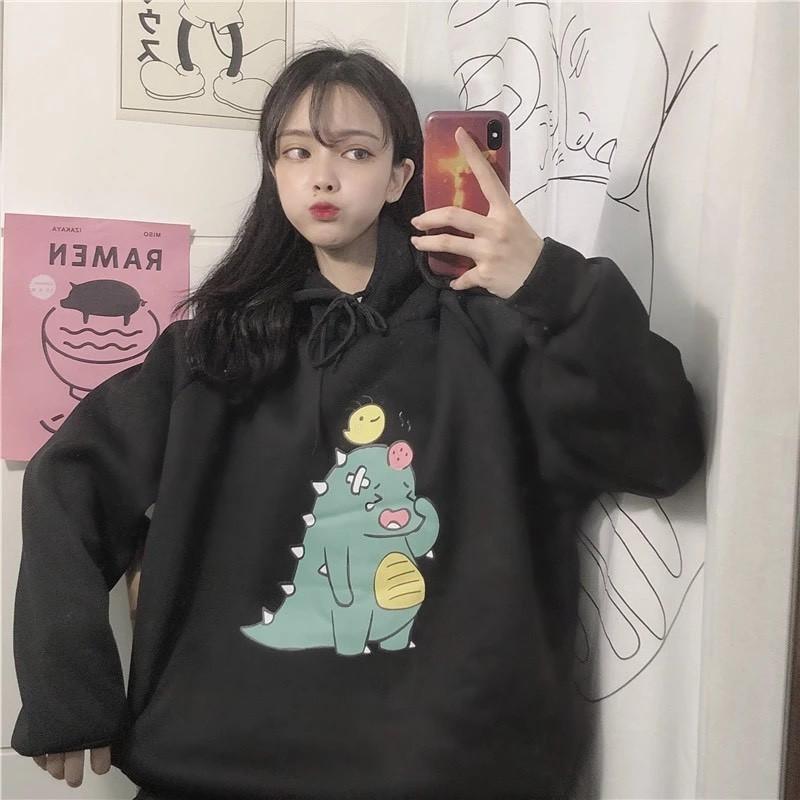 Áo khoác nam nữ unisex 🚚 FREESHIP 🚚 hoodie nữ mẫu khủng long bị thương siêu dễ t