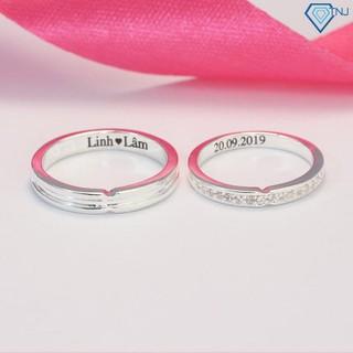 Nhẫn đôi bạc đính đá khắc tên miễn phí ND0398 - Trang Sức TNJ