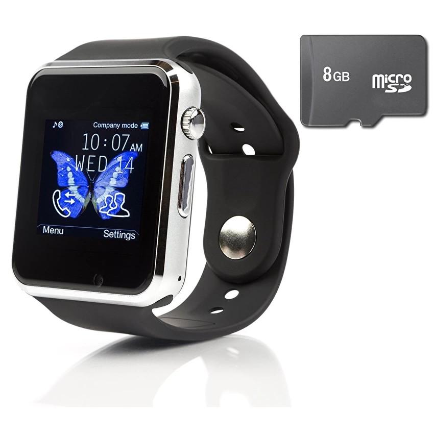 Đồng hồ gọi điện A1 gắn sim độc lập Đen phối Bạc Mới nhất kèm thẻ nhớ 8GB