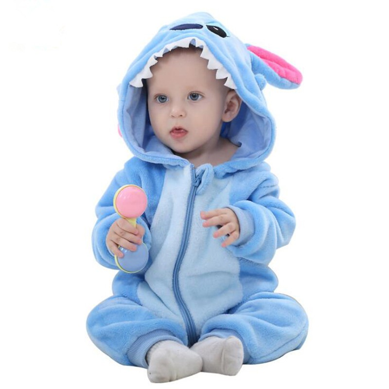 Bộ đồ ngủ có mũ trùm đầu hình Stitch dễ thương cho bé