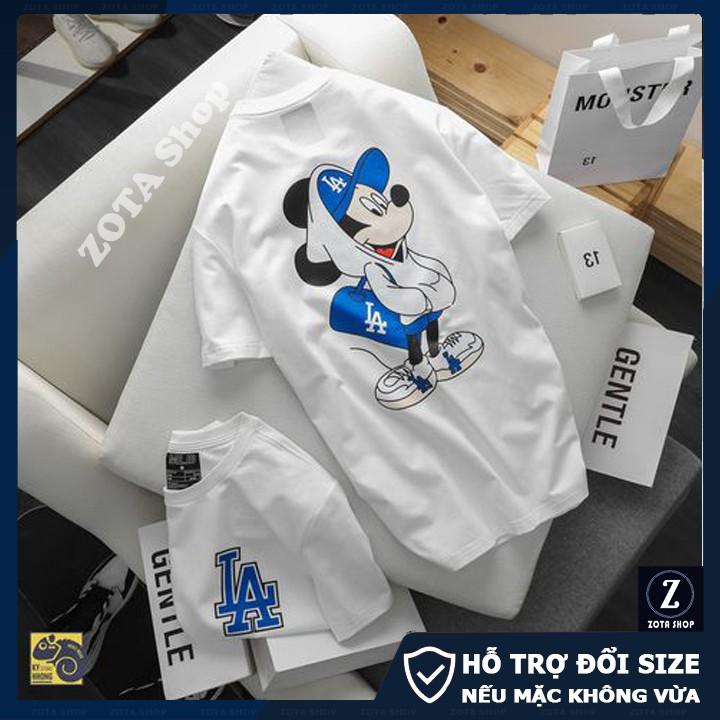 Áo phông nam ngắn tay cổ tròn ZOTA chất cotton tici in LA - Micky 2 mặt GZ01
