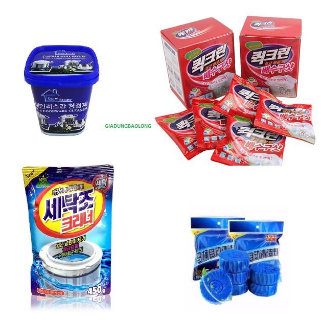 Combo 10 viên tẩy bồn cầu,4 gói x 50g bột thông cống,1 gói tẩy lồng máy giặt,1 kem tẩy inox - 2682588 , 742613045 , 322_742613045 , 159000 , Combo-10-vien-tay-bon-cau4-goi-x-50g-bot-thong-cong1-goi-tay-long-may-giat1-kem-tay-inox-322_742613045 , shopee.vn , Combo 10 viên tẩy bồn cầu,4 gói x 50g bột thông cống,1 gói tẩy lồng máy giặt,1 kem tẩy