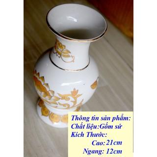 Bình hoa thờ cúng sứ trắng sen vàng - hình 2