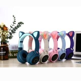 Tai nghe Bluetooth chụp tai Cát Thái BT028C thiết kế tai mèo cực kỳ dễ thương, chuyển màu RGB, âm thanh bass trầm