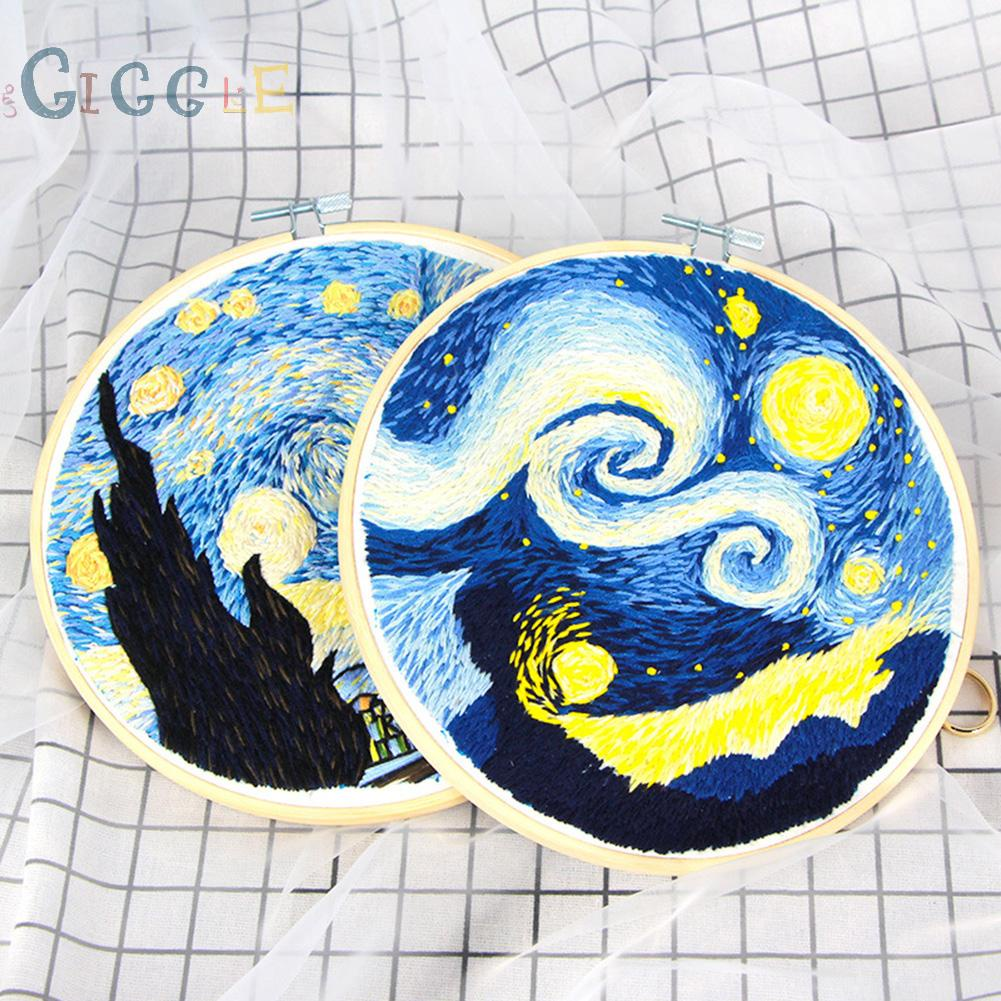 DIY Embroidery Kits 3D Starry Night Stitching with Hoop for Beginner Needlework 100% brand new and high quality