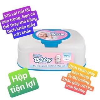 Hộp Khăn ướt Bobby không mùi hộp tiện lợi 80 miếng (Xanh)