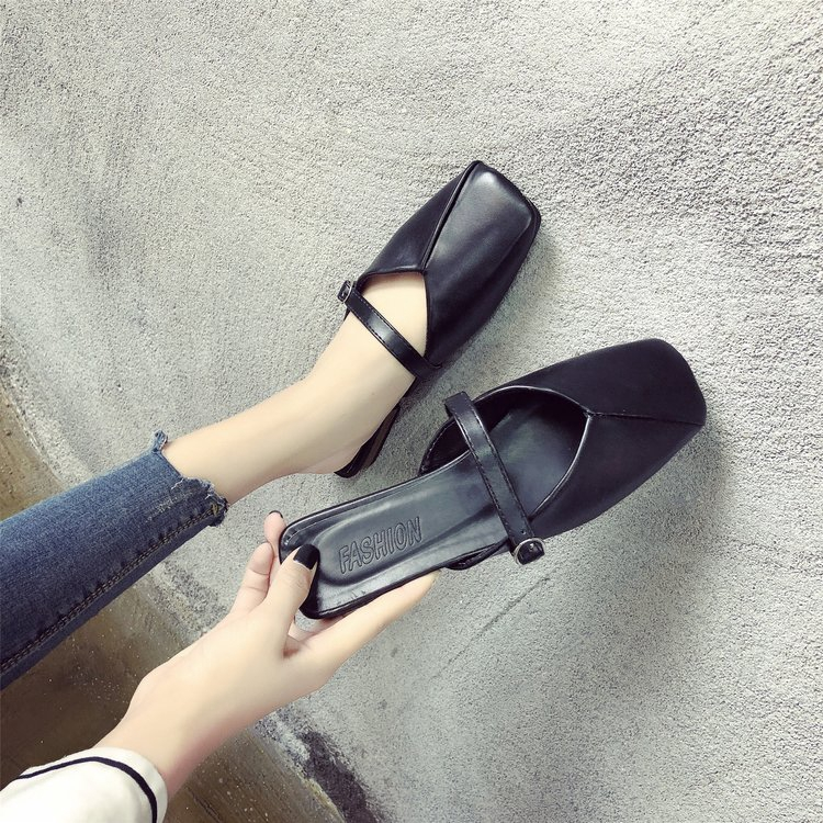 Slippers Women PU Shoes Fashion Sandals Outside Wearing Half Drag