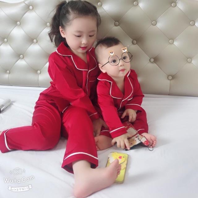 Bộ lụa dài tay thu đông xuất Nhật cho bé