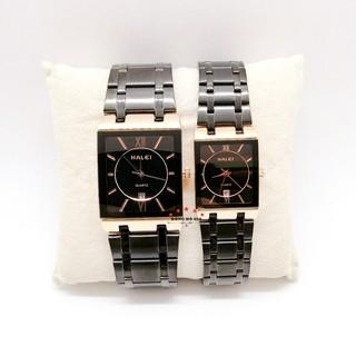 Đồng hồ nam nữ Halei máy Nhật dây kim loại chống ghỉ chống nước chống xước mặt vuông 30mm 40mm lịch ngày 564
