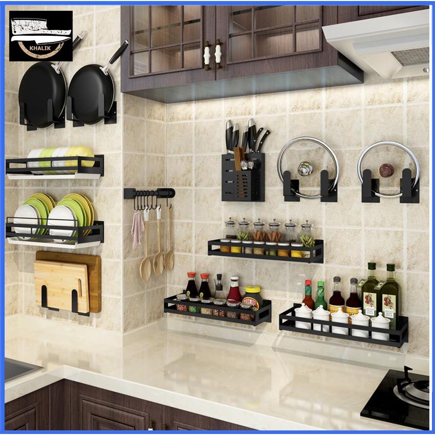1. Kệ đựng đồ nhà bếp bằng inox, kệ đựng gia vị inox - kệ treo tường không cần khoan đục - KHALIK