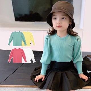 Áo Dài Tay Màu Trơn Phong Cách Hàn Quốc Cho Bé Gái, áo thun tay phồng bé gái xinh xắn