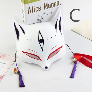 Halloween half cat face mask hand-painted fox anime cosplay masquerade mask