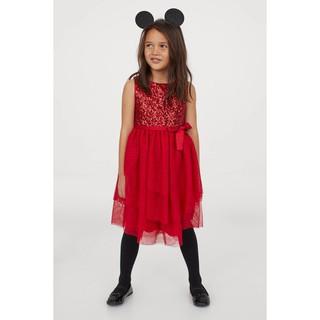 Váy đỏ đính cườm, chân ren phồng Noel siêu đẹp, HM UK săn SALE sz từ 1,5-2y đến 9-10y