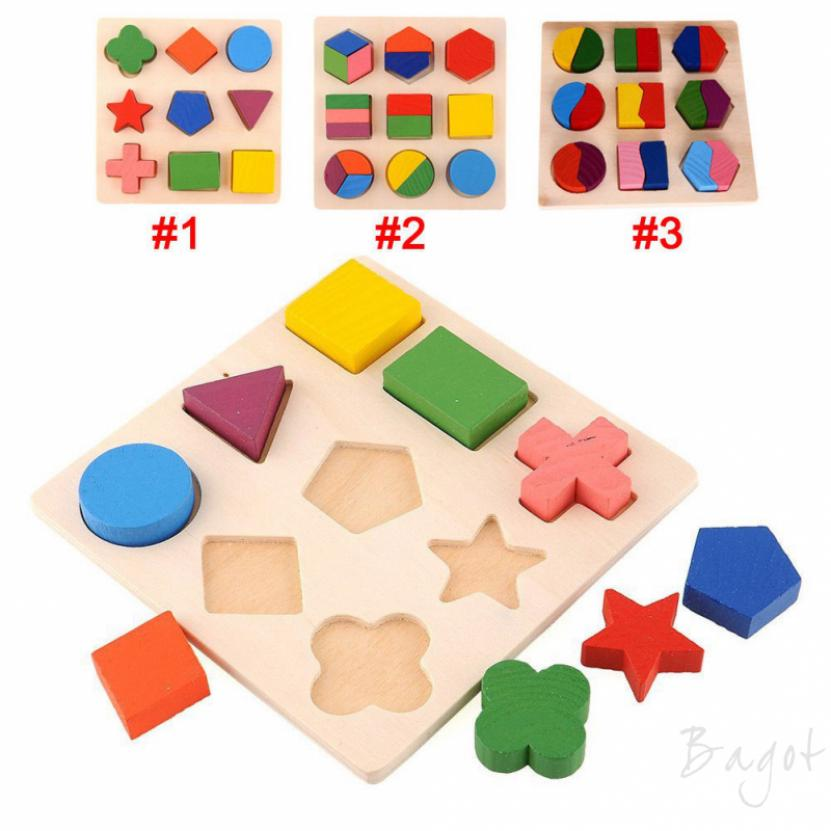 Bagot Kids Baby Wooden Learning Geometry Educational Puzzle Toys Montessori HCXM