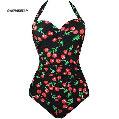 Đồ bơi một mảnh in hình quả cherry cỡ lớn cho phái nữ
