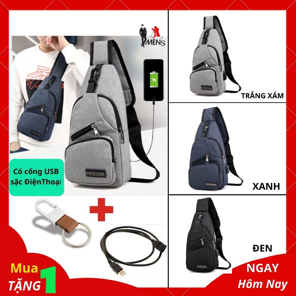 Túi đeo chéo nam túi đeo chéo nam cổng USB sặc điện thoại vải polyester cao cấp