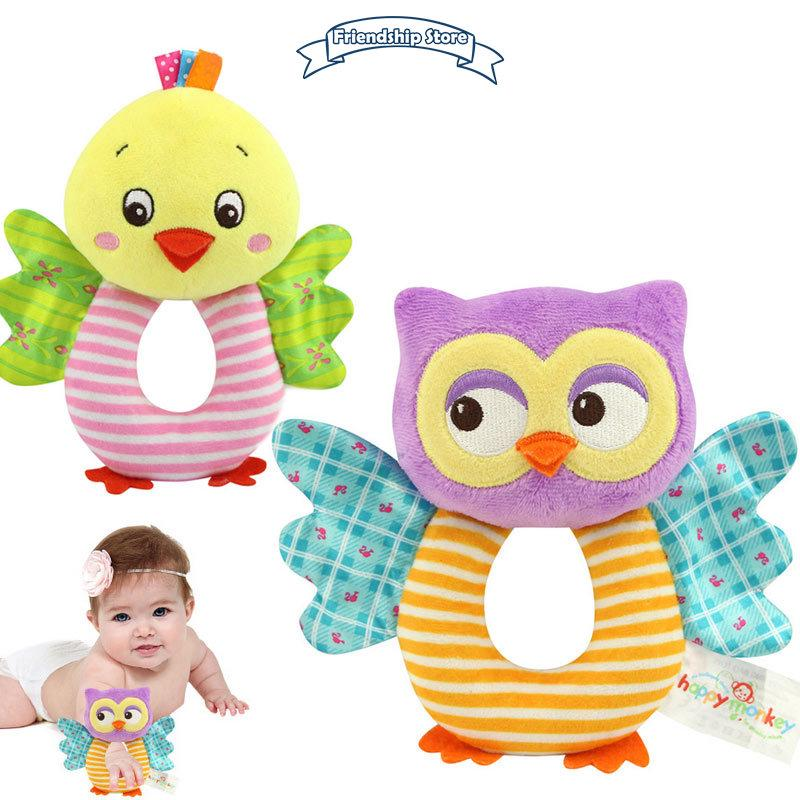 ◇FS Fashion Newborn Infant Rattles Toy Handbell Cartoon Animal Owl/Chicks Boy Girl Hand Bell Toddler Baby Plush Toys Gif