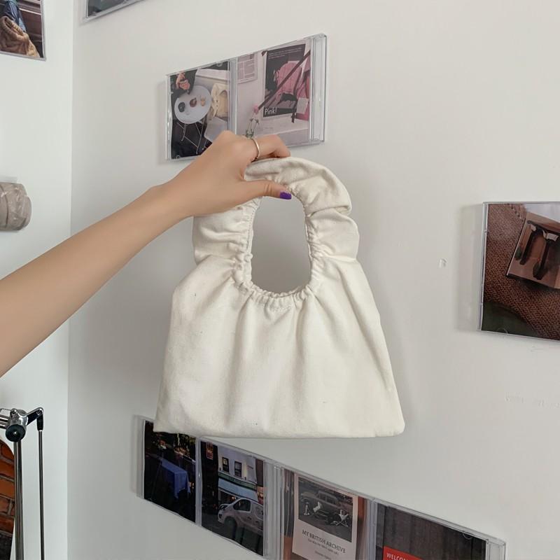 Túi Xiaozhainv Bằng Vải Canvas Đeo Tay Phối Bèo Xinh Xắn Sành Điệu