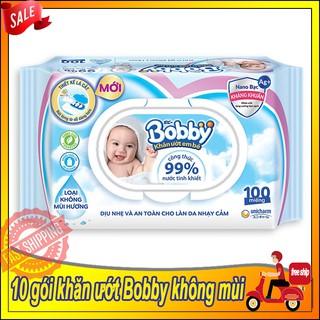 [COMBO]10 Gói Khăn Ướt Bobby Không Mùi 100 tờ NANO Bạc Kháng Khuẩn (Màu Xanh)