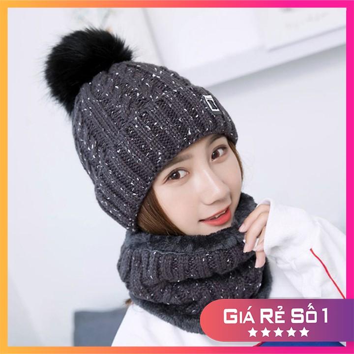 Mũ Len Nữ Kèm Khăn 𝗙𝗥𝗘𝗘 𝗦𝗛𝗜𝗣 Lót lông siêu ấm hàng đẹp chuẩn ảnh, len vặn xoắn 2 lớp dày dặn không nhão rách