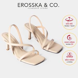 Sandal quai mảnh cao go t Erosska thời trang mu i vuông quai ngang phô i dây tinh tê cao 7cm màu nude - EB022 thumbnail