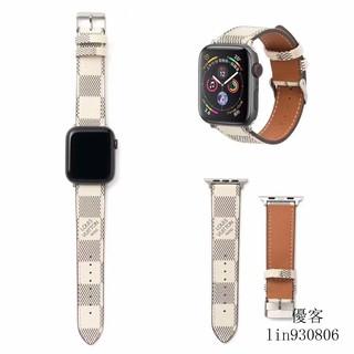 Lv Dây Đeo Đồng Hồ Bằng Da Hoa Văn Kẻ Ô Dành Cho Apple Watch 1