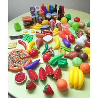 120 Pcs Plastic Food Fruits Vegetables Toy Set Kitchen Pretend Play Toy