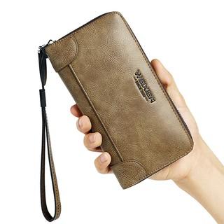 Túi xách tay nam ví da bóp da dài nam đứng thời trang có dây kéo khóa Weixier W95 Phặn Phặn