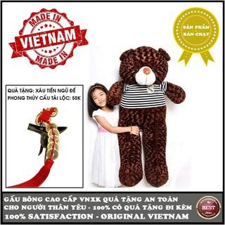 Gấu bông Teddy cao cấp size 1,5m khổ vải (gấu cao 1,3m) và loại size 1,4m khổ vải (gấu cao 1,2m) Màu nâu sẫm VNXK