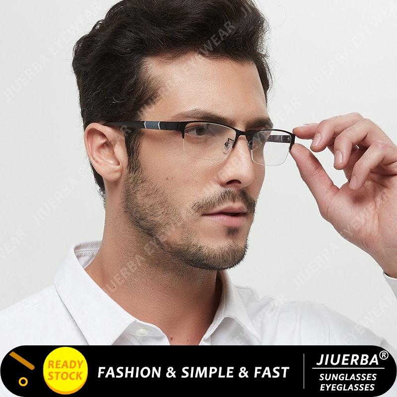 【READY STOCK】COD Classical Men Half Frame Eyeglasses Anti Blue Eyeglasses Women/Men
