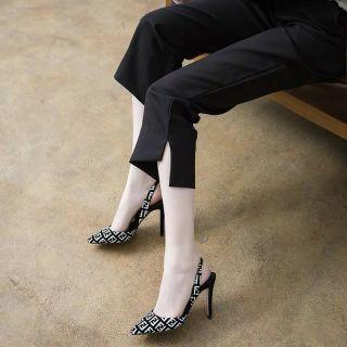 Giày cao gót 9p hoạ tiết FF bao sang chảnh thumbnail
