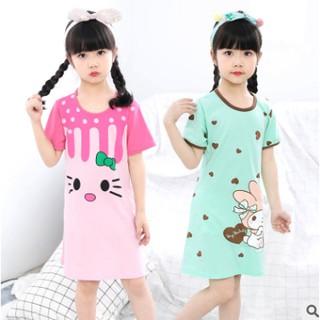 Đầm ngủ bé gái tay ngắn cotton in hình dễ thương cho bé từ 4 đến 10 tuổi - Váy ngủ bé gái - Váy ngủ cho bé gái mùa hè
